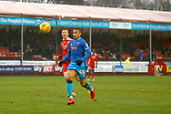 Grimsby Town forward Simeon Jackson (39) finds himself through on goal during the EFL Sky Bet League 2 match between Crawley Town and Grimsby Town FC at the Checkatrade.com Stadium, Crawley, England on 10 February 2018. Picture by Andy Walter.