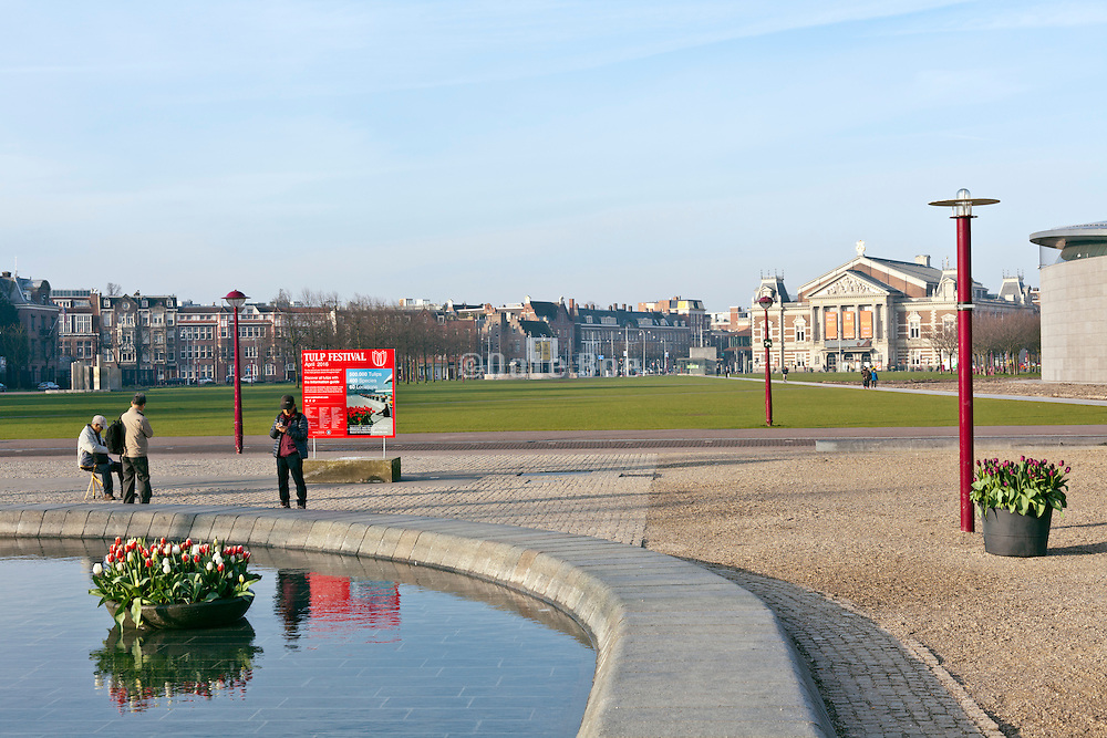 Amsterdam museumplein towards Concertgebouw early morning