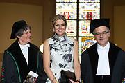 Koningin Maxima bij oratie hoogleraar  Professor Javier A. Couso -  Prins Claus Leerstoel. De hoogleraar is verbonden aan de Prince Claus Chair for Development and Equity en is specialist op het gebied van rechtssociologie.