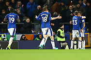 Theo Walcott of Everton (r) celebrates with his teammates after scoring his teams 2nd goal. Premier league match, Everton v Leicester City at Goodison Park in Liverpool, Merseyside on Wednesday 31st January 2018.<br /> pic by Chris Stading, Andrew Orchard sports photography.