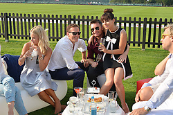 Left to right, ZOE HOBBS, BRENDAN COLE, GREG BURNS and ROXANNE PALLETT at the Audi International Polo at Guards Polo Club, Windsor Great Park, Egham, Surrey on 26th July 2014.