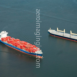 Aerial view of Container Ship Independent Voyager Along the Delaware River, outside of Philadelphia