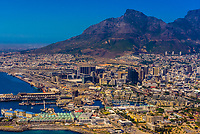 Aerial view, V&A Waterfront with Central Business District behind, Cape Town, South Africa.
