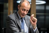 08 NOV 2018, BERLIN/GERMANY:<br /> Friedrich Merz, CDU, Rechtsanwalt, Manager und Kandidat fuer das Amt des Bundesvorsitzenden der CDU, waehrend einem Interview, Pariser Platz 6a<br /> IMAGE: 20181108-03-011