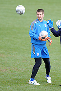 Cardiff city keeper Tom Heaton during training. the Cardiff city football team training at the Vale, Hensol near Cardiff ahead of their Carling cup final match against Liverpool on Thursday 23rd Feb 2012.  pic by Andrew Orchard, Andrew Orchard sports photography, .