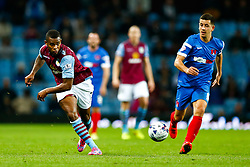 Leandro Bacuna of Aston Villa passes the ball into the box - Photo mandatory by-line: Rogan Thomson/JMP - 07966 386802 - 27/08/2014 - SPORT - FOOTBALL - Villa Park, Birmingham - Aston Villa v Leyton Orient - Capital One Cup Round 2.