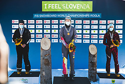 Nadryshina Sofia (RUS) 2nd, Joerg Selina (GER) 1st and Dujmovits Julia (AUT) 3rd during medal ceremony after parallel giant slalom FIS Snowboard Alpine world championships 2021 on 1st of March 2021 on Rogla, Slovenia, Slovenia. Photo by Grega Valancic / Sportida