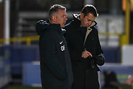 Peterborough United manager Darren Ferguson watching the warm up during the EFL Sky Bet League 1 match between AFC Wimbledon and Peterborough United at the Cherry Red Records Stadium, Kingston, England on 12 March 2019.