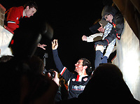 Gareth Seddon (Kettering) celebrates at the final whistle with the fans. Kettering Town Eastwood Town FA Cup 3rd rd. 3/1/2009 Credit : Colorsport / Andrew Cowie