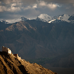The Leh Fort sits on top of one of the many peaks that over looks Leh.