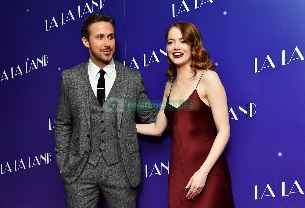 Ryan Gosling and Emma Stone attending a gala screening for La La Land held at Ham Yard Hotel, London.