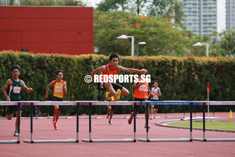 Bishan Stadium, Monday, April 25, 2016 — Shawn Jong of Singapore Sports School (SSP) secured a comfortable win by clocking 56.98 seconds in the B Division Boys 400m Hurdles at the 57th National Schools Track and Field Championships.