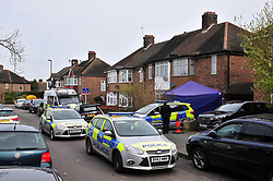 © Licensed to London News Pictures.06/04/2018<br /> HITHER GREEN, UK.<br /> DAY 3. Hither Green Burglary Murder. South Park Crescent,Hither Green.<br /> Police outside the home of 78 year old Richard Osborn-Brooks who has been bailed for stabbing a burglar to death in his home.<br /> Photo credit: Grant Falvey/LNP