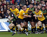 Northampton, Northamptonshire, 2nd October 2004 Northampton Saints vs London Wasps, Zurich Premiership Rugby, Franklyn Gardens, [Mandatory Credit: Peter Spurrier/Intersport Images],<br /> Mark Robinson breaking with the ball.