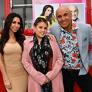 Francine Lewis, Nadia Essex and Simon Gross attend Celeb Bri Tea, on board the BB Bakery bus on 22 March 2019, London, UK.