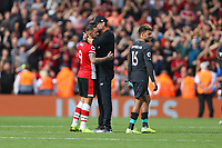 Football - 2019 / 2020 Premier League - Southampton vs. Liverpool<br /> <br /> Liverpool Manager Jurgen Klopp gives Southampton's Danny Ings a hug after the final whistle after his late goal at St Mary's Stadium Southampton<br /> <br /> COLORSPORT/SHAUN BOGGUST