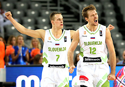 Klemen Prepelic of Slovenia and Zoran Dragic of Slovenia reacts during basketball match between Slovenia vs Netherlands at Day 4 in Group C of FIBA Europe Eurobasket 2015, on September 8, 2015, in Arena Zagreb, Croatia. Photo by Vid Ponikvar / Sportida ###THIS IMAGE IS JUST FOR USE IN SLOVENIA  !!! ###