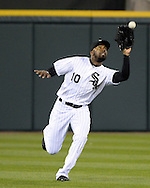 CHICAGO - APRIL 19:  Austin Jackson #10 of the Chicago White Sox fields against the Los Angeles Angels on April 19, 2016 at U.S. Cellular Field in Chicago, Illinois.  The White Sox defeated the Angels 5-0.  (Photo by Ron Vesely)   Subject: Austin Jackson