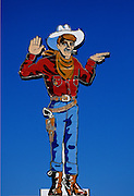 """prints-of-america-for-photo-decor-by-wells-imagery, Image of the """"Wendover Will"""" neon cowboy sign in downtown Wendover, Utah, American Southwest by Randy Wells"""