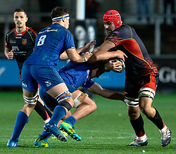 Cory Hill of Dragons under pressure from Caelan Doris of Leinster<br /> <br /> Photographer Simon King/Replay Images<br /> <br /> Guinness PRO14 Round 10 - Dragons v Leinster - Saturday 1st December 2018 - Rodney Parade - Newport<br /> <br /> World Copyright © Replay Images . All rights reserved. info@replayimages.co.uk - http://replayimages.co.uk