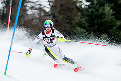 """Katharina Liensberger (AUT) competes during 1st Run of FIS Alpine Ski World Cup 2017/18 Ladies' Slalom race named """"Snow Queen Trophy 2018"""", on January 3, 2018 in Course Crveni Spust at Sljeme hill, Zagreb, Croatia. Photo by Vid Ponikvar / Sportida"""