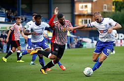 Lewis Grabban of Sunderland and Tom Aldred of Bury - Mandatory by-line: Matt McNulty/JMP - 10/08/2017 - FOOTBALL - Gigg Lane - Bury, England - Bury v Sunderland - Carabao Cup - First Round