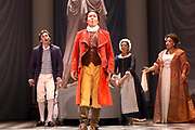 Robert Gierlach as Figaro, Jesper Taube as Count Almaviva, Iride Martinez as Susana, and Sharon Coste as Countess Almaviva in Act II of the Florida Grand Opera production of Le Nozze Di Figaro by Mozart. Le Nozze Di Figaro is a humorous, satirical story about the foibles of lovers and the presumptions of class, and plays as if it were a sequel to Rossini's The Barber of Seville, in which many of the characters reappear. The story unfolds when the Count Almaviva, who no longer feels affection for his wife, the Countess Rosina, sets his sights on her servant, Susanna, who, in turn, is about to wed the Count's servant, Figaro (El Nuevo Herald Photo/Gaston De Cardenas)