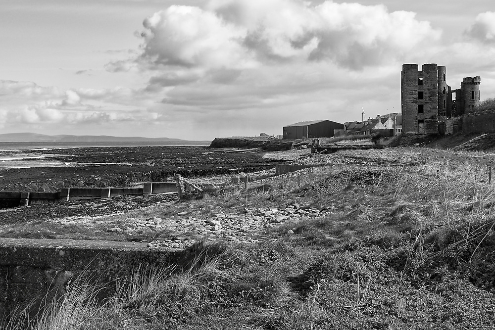 Looking East from the sea shore past the ruins on Thurso Castle.<br /> <br /> Photo by Jonathan J Fussell, COPYRIGHT 2021