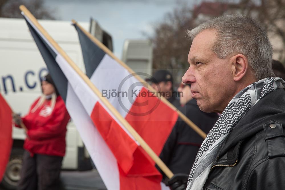 "Leipzig, Germany - 18.03.2017<br /> <br /> Christian Worch, leader of the neo nazi party ""die Rechte"". Neo nazi march of the far right party ""die Rechte"" in Leipzig with about 120 participants.<br /> <br /> Christian Worch, Vorsitzender der Neonazi-Partei ""die Rechte"". Neonazi-Aufmarsch der Partei ""Die Rechte"" in Leipzig mit etwa 120 Teilnehmern. <br /> <br /> Photo: Bjoern Kietzmann"