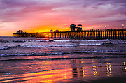Pink Sky At Sunset Over The Oceanside Pier