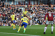 Sam Vokes of Burnley looks to head towards goal but misses the ball. Premier League match, Burnley v Everton at Turf Moor in Burnley , Lancs on Saturday 22nd October 2016.<br /> pic by Chris Stading, Andrew Orchard sports photography.