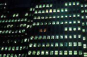 exterior of illuminated office at night, New York City, Manhattan Down Town