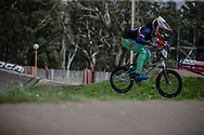 #971 (VALENTINO Manon) FRA during practice at round 1 of the 2018 UCI BMX Supercross World Cup in Santiago del Estero, Argentina.