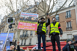 Jérôme Rodrigues et Franck during the act 12 of yellow vests protest at the place Feix Eboue in Paris, France, on February 02, 2019. Photo by Serge Tenani/Avenir Pictures/ABACAPRESS.COM