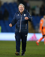 Neil Warnock, the Cardiff city manager celebrates after the game. EFL Skybet championship match, Cardiff city v Barnsley at the Cardiff city stadium in Cardiff, South Wales on Tuesday 6th March 2018.<br /> pic by Andrew Orchard, Andrew Orchard sports photography.