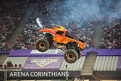 December 16, 2017 - Sao Paulo, Sao Paulo, Brazil - El Toro Loco jumps hight during a round of racing. Monster Jam was held at Corinthians Stadium, in Sao Paulo, Brazil. (Credit Image: © Paulo Lopes via ZUMA Wire)