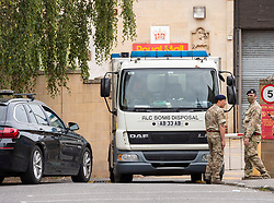 © Licensed to London News Pictures; 11/09/2020; Bath, UK. Police with the army and the Bomb Disposal team are seen at the Bath Royal Mail sorting office in Bath city centre. Emergency services are searching the Royal Mail sorting offices in both Bristol and Bath after a suspicious package was found during the night. Police think the package may have been sent from Bristol to the Bath sorting office in a lorry. Royal Mail staff have been told not to go into work. Today is the 19th anniversary of 9/11 terrorist attacks in New York. Photo credit: Simon Chapman/LNP.