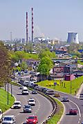 Widok na elektrociepłownię w Łęgu, Kraków, Polska<br /> View of the CHP plant in Łęg, Cracow, Poland