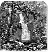 Waterfall in the Yosemite Valley, California, USA.. Yosemite designated as a state park in 1864, then made a national park in 1890 together with surrounding territory. Wood engraving c1875.