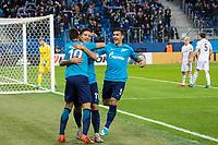 ST PETERSBURG, RUSSIA - OCTOBER 19, 2017. UEFA Europa League group stage: Zenit St Petersburg (Russia) 3 – 1 Rosenborg BK (Norway). Zenit St Petersburg's Emiliano Rigoni (L), Sebastian Driussi (C) and Leandro Paredes (R) celebrate scoring.