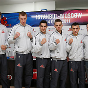 Istanbulls boxers seen (Left to Right) Oleksiy SIVKO, Sergiy LAPIN, Onur SIPAL, Bunyamin AYDIN, Mehmet TOPCAKAN during their Presentation and the weighing ceremony matchday 4 of the World Series of Boxing at Ahmet Comert Arena in Istanbul, Turkey, Thursday, January 13, 2011. Photo by TURKPIX