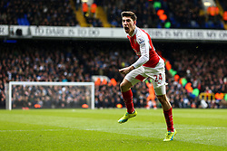 Hector Bellerin of Arsenal celebrates, Aaron Ramsey of Arsenal goal, Tottenham Hotspur 0-1 Arsenal - Mandatory byline: Jason Brown/JMP - 07966386802 - 05/03/2016 - FOOTBALL - White Hart Lane - London, England - Tottenham v Arsenal - Barclays Premier League