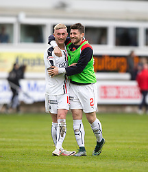 Falkirk's Craig Sibbald and Falkirk's Lewis Kidd at the end. Dunfermline 1 v 2 Falkirk, Scottish Championship game played 22/4/2017 at Dunfermline's home ground, East End Park.