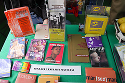 Sex education leaflets and material on a stall at the Nottingham Pride Gay Lesbian festival; held at the Arboretum,