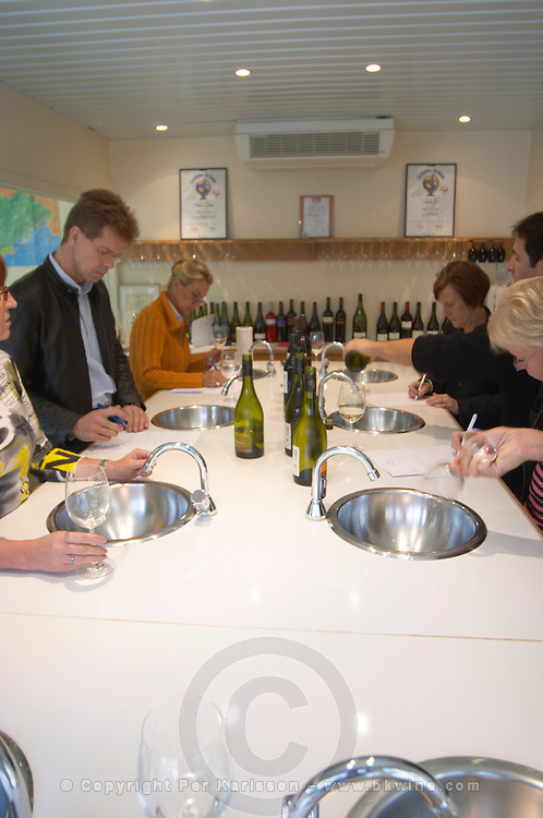 Mas La Chevaliere. near Beziers. Languedoc. Tasting wine. France. Europe. In the professional tasting room.