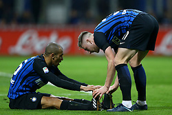 January 21, 2018 - Milan, Italy - Joao Miranda and Milan Skriniar of Internazionale  during the Serie A match between FC Internazionale and AS Roma at Stadio Giuseppe Meazza on January 21, 2018 in Milan, Italy. (Credit Image: © Matteo Ciambelli/NurPhoto via ZUMA Press)