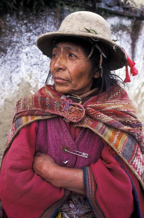 A Kallawaya Indian woman, Curva, Bolivia. The Kallawayas are famed for their abilities as natural medicine men and women.