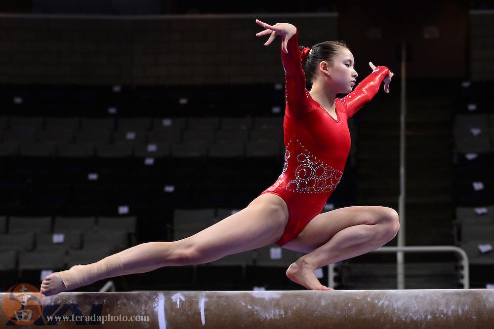 June 29, 2012; San Jose, CA, USA; Sarah Finnegan warms up on the balance beam during the 2012 USA Gymnastics Olympic Team Trials at HP Pavilion.