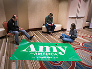 03 FEBRUARY 2020 - DES MOINES, IOWA: Campaign volunteers with Sen Amy Klobuchar's presidential campaign prepare a banner at the downtown Marriott Hotel in Des Moines. Sen Klobuchar is hosting her post caucus results watch at the hotel. Iowans made the first presidential selection picks of the 2020 election campaign with the Iowa caucuses.     PHOTO BY JACK KURTZ