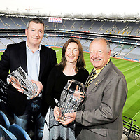 15 March 2012; The Tesco Club Person of the Year awards were announced today at a cermony in Croke Park. At the announcement is  Tesco Overall and Munster Club Person of the Year Award winner Treas Molloy, Doora Barefield, Co. Clare, with Sean Lenihan, Chairman, Doora Barefield, left, and President of the Ladies Gaelic Football Association Pat Quill. Croke Park, Dublin. Picture credit: Brian Lawless / SPORTSFILE *** NO REPRODUCTION FEE ***